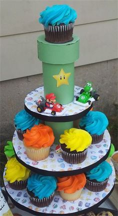 Super Mario pipe cake stand - my favorite part of the event! Easy to with cardboard and construction paper! Mario Birthday Cake, 7th Birthday Party Ideas, Party Themes For Boys, Animal Party, Party Animals, Super Mario Party, Mario Brothers, Mario Bros, Diy Party Decorations