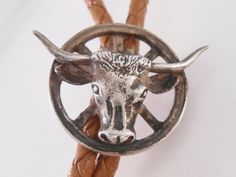 Texas Longhorn Sterling Silver Bolo Tie by Libbysmomsvintage