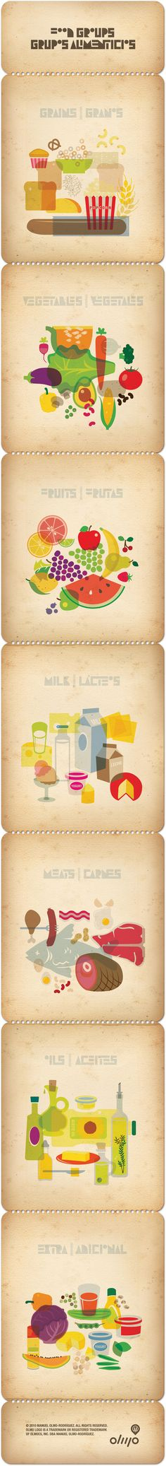 Food Illustrations by Manuel Olmo-Rodriguez. This is a collection of illustrations based on the food groups and nutrition pyramid,   illustrated by Manuel Olmo-Rodriguez 2010 and published by OlmoCS, Inc.