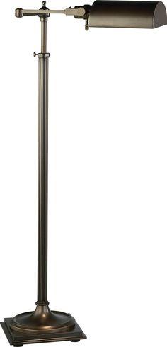 Robert Abbey Winston Adjustable Swing Arm Pharmacy Floor Lamp shown in Dark Natural Brass Pharmacy Floor Lamp, Robert Abbey Lighting, Industrial Floor Lamps, Lamp Light, Cool Things To Buy, Chandelier, Brass, Dark, Wood
