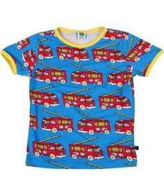 Småfolk hippe retro t-shirt met rode brandweerwagens. smafolk.nl.emilea.be