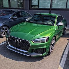 I guess #greenrs5 is the new thing. Would you go the Hulk route? . pic @q5ds . ---- oooo #audidriven - what else ---- . . . . #AudiRS5 #RS5 #RS5Coupe #quattro #4rings #AudiSport #drivenbyvorsprung #audirsperformance #carsbyaudisport #greenaudi #newrs5color #Audi #newRS5 #Sonomagreen