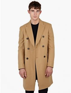 $682, Melindagloss Camel Double Breasted Wool Coat. Sold by oki-ni. Click for more info: https://lookastic.com/men/shop_items/339589/redirect