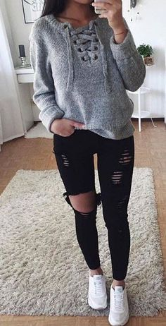 #summer #outfits Grey Lace-up Knit + Black Ripped Skinny Jeans + White Pumps