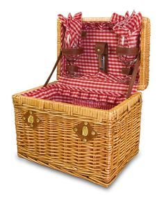 Another great find on #zulily! Red Gingham Chardonnay Wine Basket Set by Picnic Time #zulilyfinds