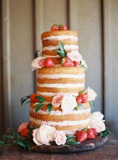 naked strawberry wedding cake | Chris Isham