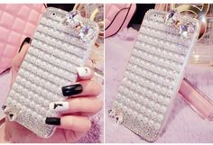 Fashion Full pearl crystal diamond Bling Crystal Hard Clear Case Cover For iphone 7 7Plus 5s iphone 6 6s 6plus diamond bow Case