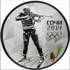 """3 rubles - Biathlon The reverse: In the central part of the disc, to the left - the relief image of a biathlonist in a firing position, to the right of it - the inscription """"СОЧИ"""" (SOCHI), the date: """"2014"""" and five Olympic rings in three lines, below to the right, at the edge - a colored image of a little branch and cone of the Pitsunda pine."""