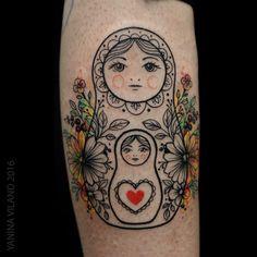 Russian doll tattoo from St. Petersburg artist Yanina Viland