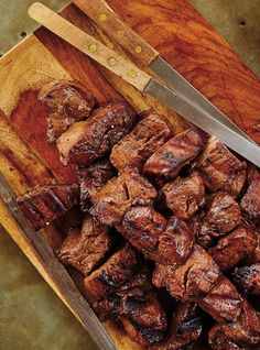 Recipe of grilled marinated beef kebabs with Ricardo garlic - James Recipes Barbecue Recipes, Steak Recipes, Cooking Recipes, Receta Bbq, Ricardo Recipe, Beef Skewers, Cuisine Diverse, Marinated Beef, Beef Steak