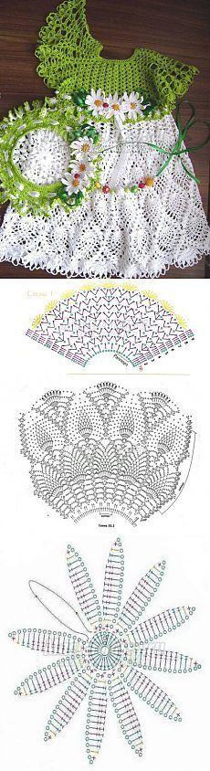 Ажурное платье для девочки, вязаное крючком. Схема и описание [] #<br/> # #Tissues<br/>