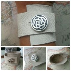 Creme Wide Leather Wristband/Cuff. Recycled by SomethingSeaBlue