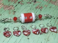 Red Row Counter Lanyard & Heart Stitch Markers