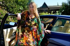 SARDINIA silk printed kaftan dress | CAFATELIER Resortwear