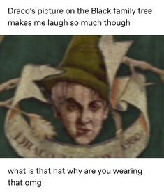 "dictacontrion: "" salty-centipede: "" Draco's picture on the Black family tree makes me laugh so much though what is that hat why are you wearing that omg "" Forget part-Veela. Draco Malfoy is part. Harry Potter Puns, Harry Potter Universal, Harry Potter World, Ravenclaw, Drarry, Dramione, Yer A Wizard Harry, Harry Potter Pictures, Fandoms"