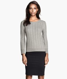 H&M: long sleeve cable knit sweater. Colors: Gray, dark purple, natural white. Cable knit is perfect for winter! Price: $19.95