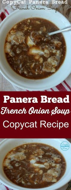 You can make this delicious Copycat Recipe of Panera Bread French Onion Soup. Includes a gluten free crouton recipe so those on a gluten free diet can enjoy it too! A copycat recipe of the French Onion Soup from Panera Bread. Crouton Recipes, Onion Soup Recipes, Panera Onion Soup Recipe, Panara Bread Recipes, Chowder Recipes, Chicken Recipes, Gourmet Recipes, Crockpot Recipes, Recipes