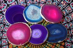 Agate Slice Coasters // Geode Coasters // Crystal Coasters // Boho Decor // Available in Pink, Black, Natural, Teal, Purple, Blue