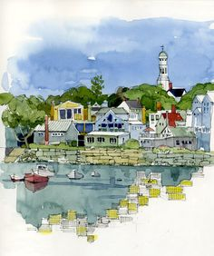 № 2 Rockport_BeforeStorm. Watercolor Sketchbook, Pen And Watercolor, Watercolor Landscape, Art Sketchbook, Watercolor Paintings, Watercolors, Drawing Journal, Drawing Sketches, Drawings