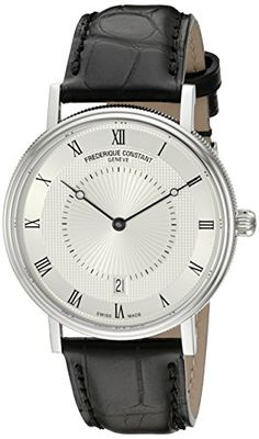 Now available Frederique Constant Men's 'Slim Line' Silver Dial Black Leather Strap Stainless Steel Swiss Automatic Watch  FC-306MC4S36