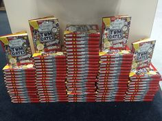 Stacks of The Brilliant World of Tom Gates by Liz Pichon for giveaway at #BookCon #kidlit #mglit