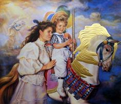 "Girl and Mother on a carousel Horse Mane in 24K Finish Image Size 25.5""W x 22""H"