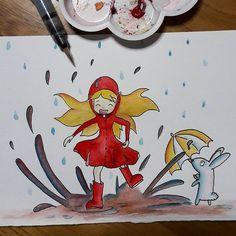Play in the mud it's so fun! ☂️ inktober day 18, Filthy #inktober #inktober2017 #ink #inktoberaduntratto #filthy #sporco #mud #fango #rain #rainy #rainyday #jump #pioggia #giornatadipioggia #watercolor #acquerello #draw #umbrella #ombrello #drop #drops #gocce #goccia #rabbit #littlerabbit #coniglio #coniglietto