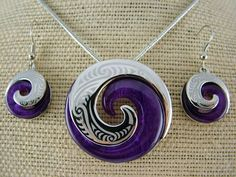 Silver and Some - Necklace Set, Koru Necklace and Earrings Set - Purple