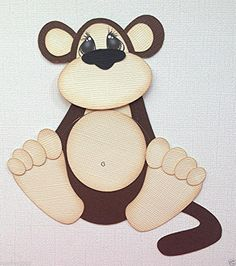 POT BELLY MONKEY ZOO ANIMAL PAPER PIECING BY MY TEAR BEARS KIRA Zoo Animals, Animals For Kids, Punch Art Cards, Use E Abuse, Dream Doll, Pet Rocks, Applique Patterns, Paper Piecing, Paper Dolls