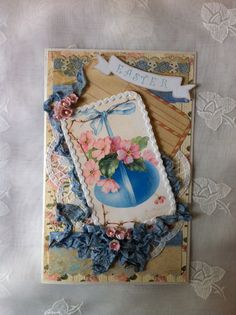 Easter Card, Victorian Style, Keepsake, Collage Card, Sweet, Vintage Image, Romantic, NECteam