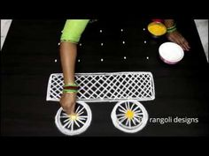 Kolam or muggu is a ancient art form of India which is very popular. Kolam is also called as Rangoli in parts of India. women create different kolam or rango. Rangoli Side Designs, Rangoli Designs Images, Beautiful Rangoli Designs, Rangoli With Dots, Simple Rangoli, Art Forms Of India, Western Dresses For Girl, New Year Rangoli, Festival Rangoli