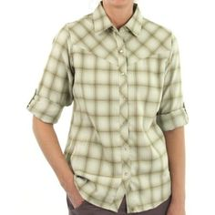 ExOfficio - Women's Trailing Off Plaid Long-Sleeve Shirt XS LT JADE by ExOfficio. $29.93. The Trailing Off Plaid Shirt is made with an innovative hollow yarn that uses the design principle of a feather quill to preserve air. This air insulation prevents heat from escaping and makes the Trailing Off an incredibly lightweight travel shirt.
