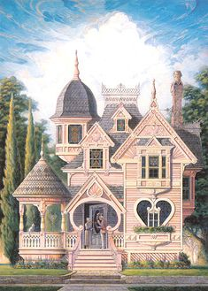 Victorian Queen Anne Gingerbread Valentine Heart House Art C Victorian Architecture, Interior Architecture, Architecture Sketchbook, Architecture Portfolio, House Architecture, Pink Houses, Old Houses, Beautiful Buildings, Beautiful Homes