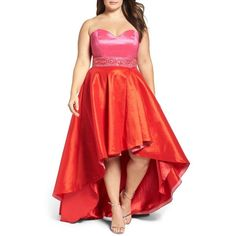 b220a7c6ab1ca Plus Size Women s Mac Duggal Strapless Colorblock High low Gown ( 458) ❤  liked