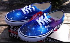 WEEKEND SALE Galaxy vans on Etsy, $99.00
