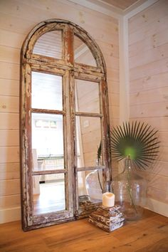 "Maybe the "" old church "" windows ? Window Unit, Window Mirror, Window Frames, Window Ideas, Church Windows, Old Windows, Old Shutters, Repurposed Shutters, Recycled Door"