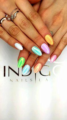 by Karolina Pawłowska :) Follow us on Pinterest. Find more inspiration at www.indigo-nails.com #nailart #nails #indigo #pastel #syrenka #mermaid