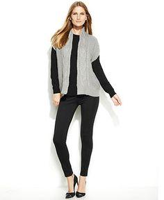 Calvin Klein Cable-Knit Sweater Vest & High-Waist Leggings - Calvin Klein - Women - Macy's
