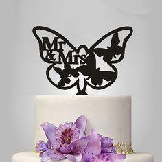 Wedding Cake Topper /Romantic Cake Decoration (Beautiful Butterfly /Mr Mrs)