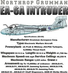 WARBIRDSHIRTS.COM presents 1950-Present T-Shirts, Polos, and Caps, Fighters, Bombers, Recon, Attack, 1950 - Present day. The EA-6A Intruder