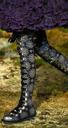 """#Alexander #McQueen Fall/Winter 2014 RTW - #Paris Fashion Week rocking roccoco super hi lace up boots"" #alexandermcqueenshoes"