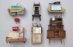 chicsochic pretty blog: vintage dollhouse furniture assemblages by  Sabine Timm aka  virginhoney