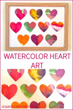 Watercolor Heart Art - love this Valentine's Day craft for kids!