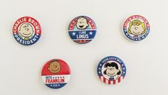 Button of the Day Price: $0 In honor of the presidential election, this year's buttons feature the Peanuts characters as political candidates. Show your support for your favorite Peanuts candidate by sporting a free exclusive button each day!