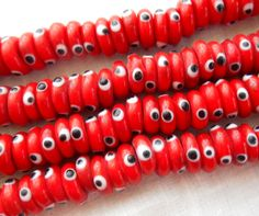 30 Red evil eye rondelle spacer beads 10mm by GloriousGlassBeads