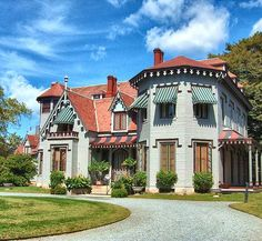 """Kingscote the first """"summer cottage"""" to be built on Bellevue Ave in Newport, R.I. It was built in  1839 by architect Richard Upjohn as a cottage orne in the Gothic Revival style. This marked the beginning of the  Gilded age mansions of Newport R.I."""