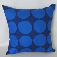 Blue Marimekko pillow cover in authentic Marimekko fabric from Finland called Pienet Kivet, 18 inch x 18 inch
