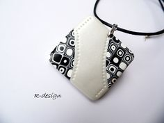 Black and white retro- polymer clay necklace