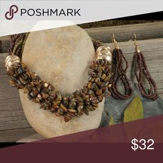 """Arrived!  Tiger eye's natural stone chips nec.. Polished goldtone rings and brown tiger's eye natural stone chips accent this designer-style 20"""" adjustable gold and brown seed bead necklace with matching pierced wire earrings. Jewelry Necklaces"""