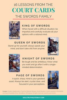 16 Lessons from the Court Cards Part 3: Swords and Court Cards Cheatsheet!   Tarot Learning   Tarot Meanings   Tarot Cheat Sheet   Tarot Minor Arcana   Tarot Court Cards   Tarot Swords #tarot #tarotcardmeaning #soultruthgateway